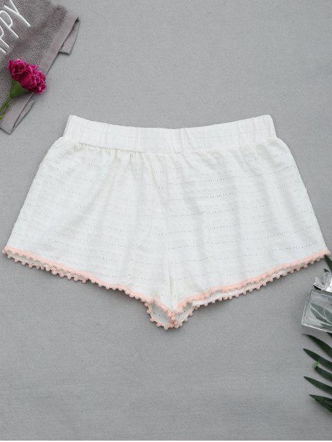 affordable Hollow Out Loungewear Pom Shorts - WHITE S Mobile