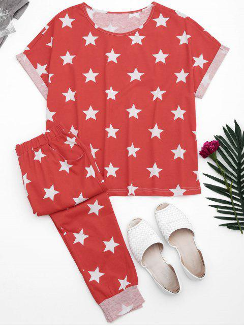 lady Loungewear Pentagram Star Print T-Shirt with Pants - RED L Mobile