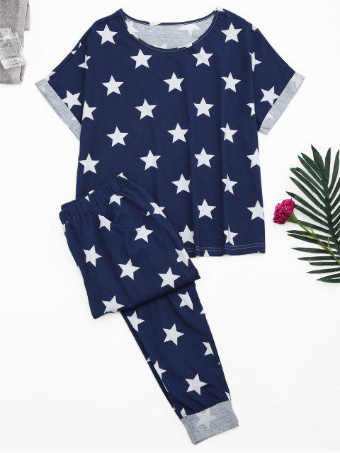 hot Loungewear Pentagram Star Print T-Shirt with Pants - BLUE L Mobile