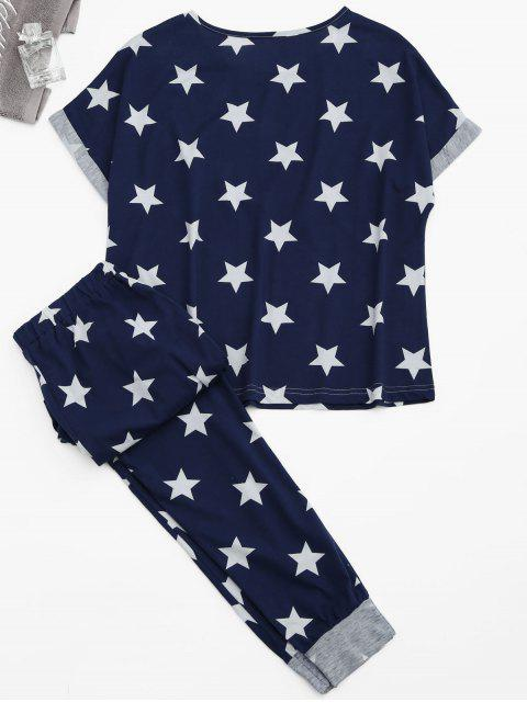 outfits Loungewear Pentagram Star Print T-Shirt with Pants - BLUE S Mobile