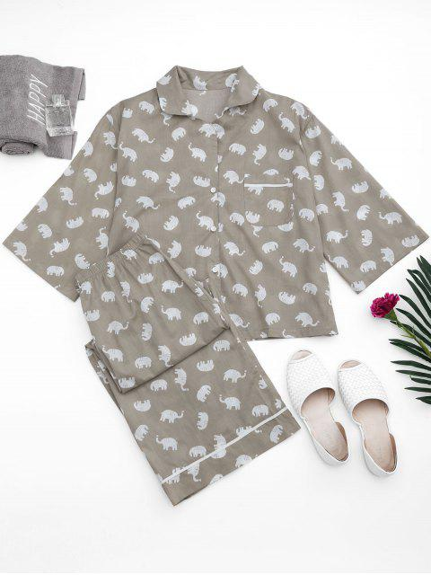 hot Loungewear Elephant Print Shirt with Pants - GRAY S Mobile