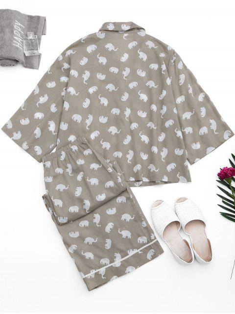 hot Loungewear Elephant Print Shirt with Pants - GRAY S Mobile