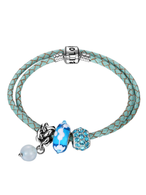affordable Rhinestone Beaded Engraved Love Charm Bracelet - BLUE  Mobile