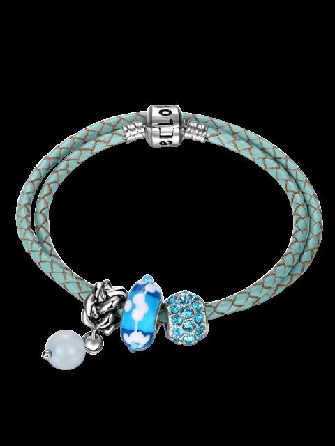 Pulsera de encanto de imitación de cuentas de diamantes de imitación - Azul  Mobile
