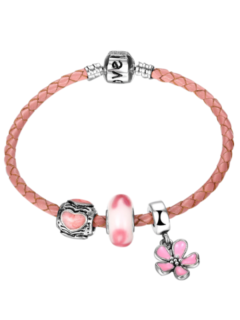 Bracelet Engraved Heart Love Flower Charm - ROSE PÂLE  Mobile