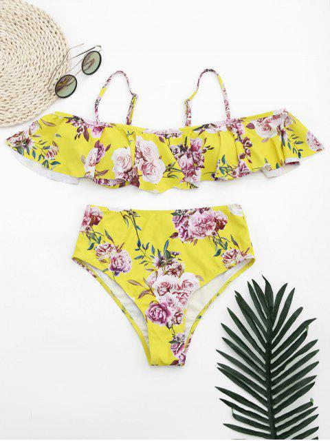 outfit Ruffles Floral Off Shoulder High Waisted Bikini - YELLOW M Mobile