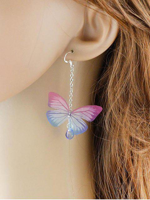 Boucles d'oreilles de goutte d'eau de pierre acrylique en forme de papillon - ROSE PÂLE  Mobile