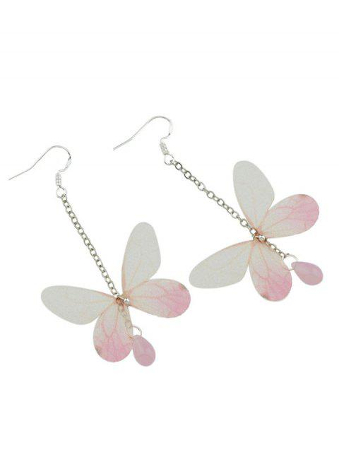 Boucles d'oreilles de goutte d'eau de pierre acrylique en forme de papillon - Blanc Cassé  Mobile