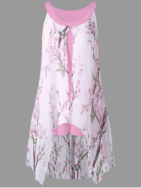 hot Plus Size Tiny Floral High Low Blouse - PINK 5XL Mobile