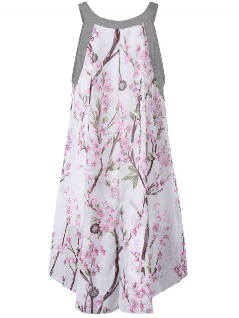 fashion Plus Size Tiny Floral High Low Blouse - GRAY 3XL Mobile