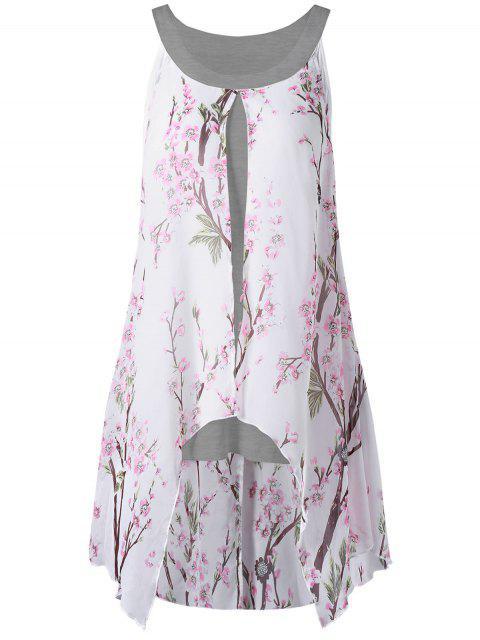 fancy Plus Size Tiny Floral High Low Blouse - GRAY XL Mobile