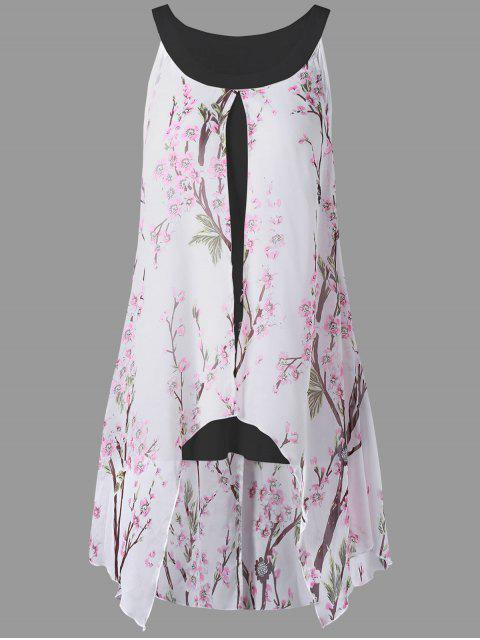affordable Plus Size Tiny Floral High Low Blouse - BLACK 3XL Mobile