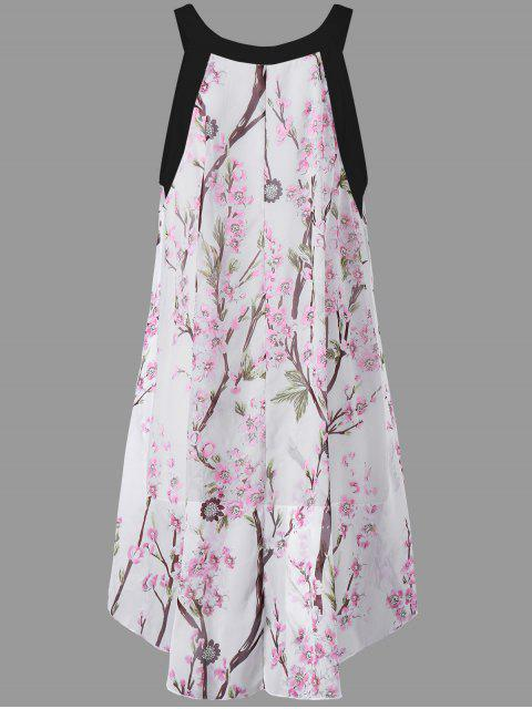 womens Plus Size Tiny Floral High Low Blouse - BLACK XL Mobile