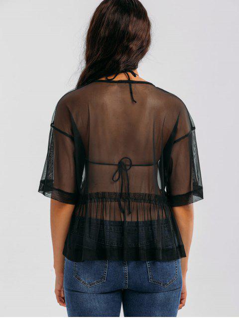 lady Mesh See Through Ruffles Top - BLACK M Mobile