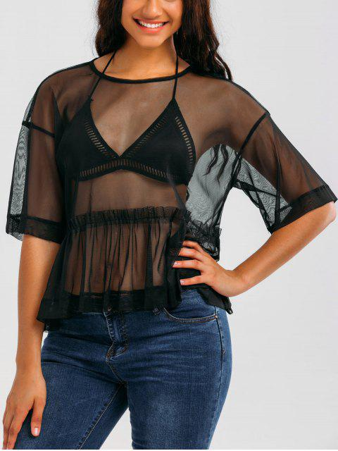 lady Mesh See Through Ruffles Top - BLACK M Mobile