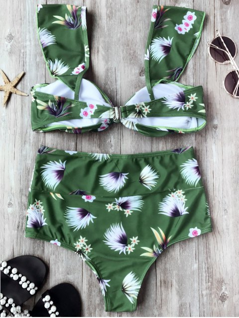 affordable Ruffle Straps Knotted High Waisted Bikini Set - GREEN L Mobile