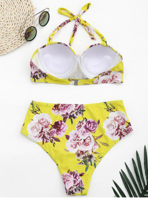 best Underwire Floral Halter High Waisted Bikini - YELLOW L Mobile