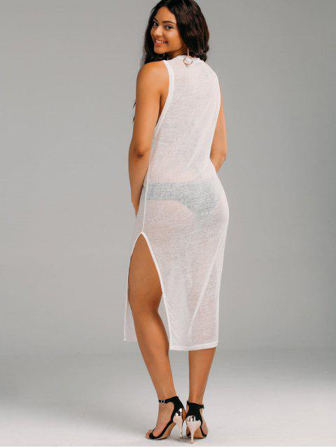buy Casual See Thru Slit Cover Up Dress - WHITE L Mobile