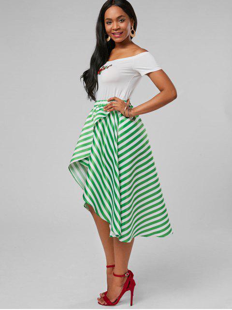 trendy High Low Stripe Skirt - MINT XL Mobile