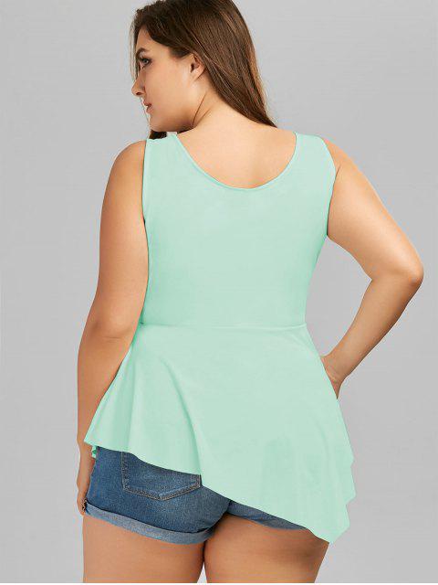 women V Neck Crisscross Asymmetrical Plus Size Top - MINT 4XL Mobile