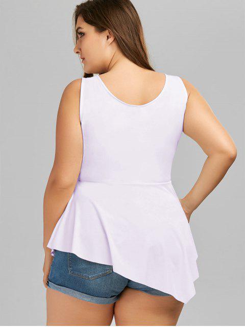 outfit V Neck Crisscross Asymmetrical Plus Size Top - LIGHT PURPLE XL Mobile