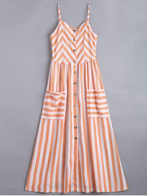 chic Button Up Striped Cami Dress - STRIPE L Mobile