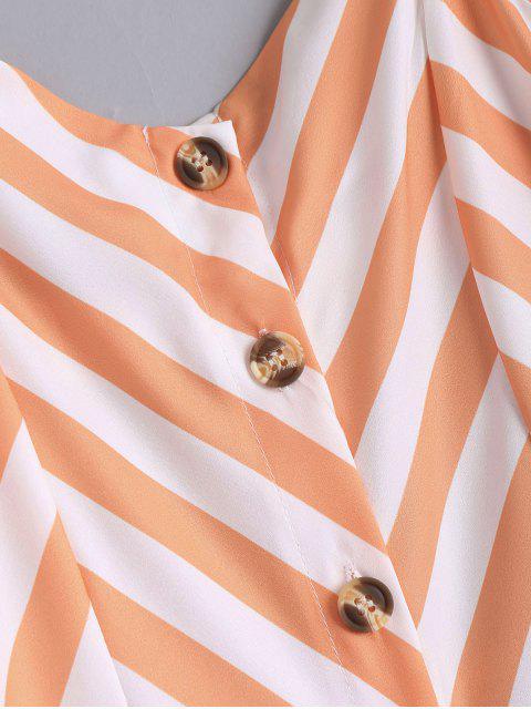 fancy Button Up Striped Cami Dress - STRIPE XL Mobile