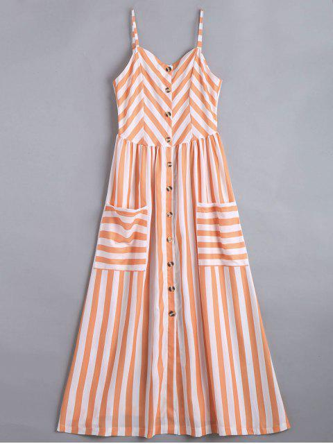 fancy Button Up Striped Cami Dress - STRIPE XL Mobile