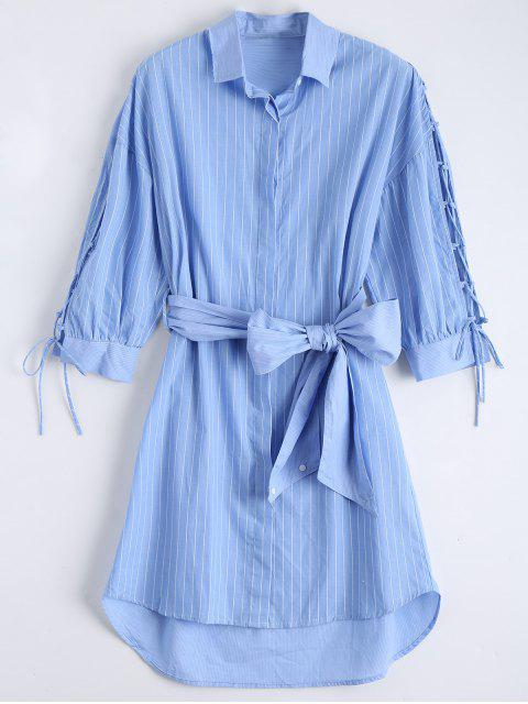 ladies Lace Up Sleeve Dip Hem Striped Shirt Dress - BLUE L Mobile