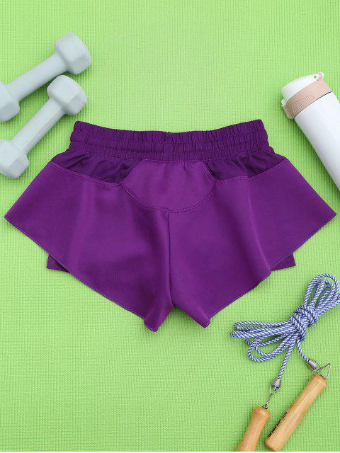 outfits Double Layer Running Shorts - PURPLE M Mobile