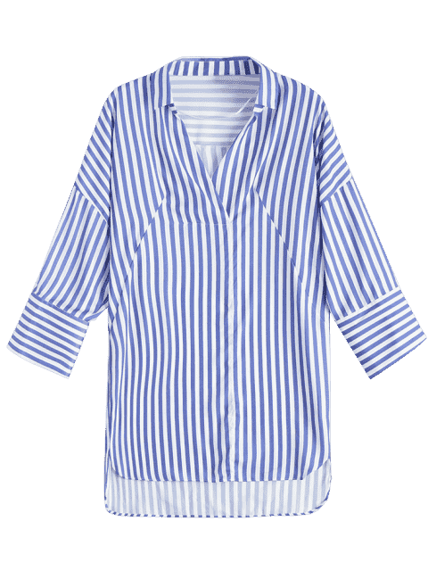 outfit High Low Longline Striped Shirt - BLUE L Mobile