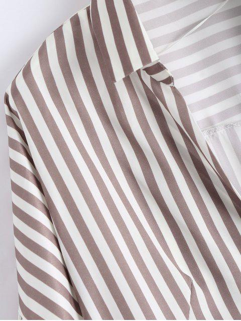 shops High Low Longline Striped Shirt - LIGHT COFFEE S Mobile