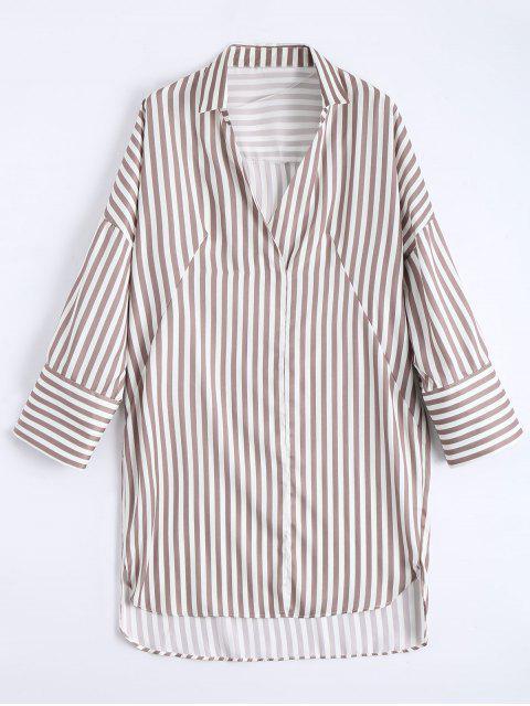 shops High Low Longline Striped Shirt - LIGHT COFFEE S Mobile