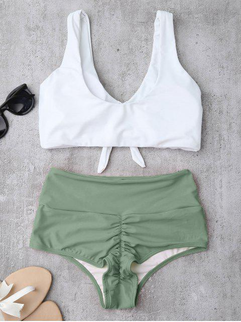 sale Knotted High Waisted Ruched Bikini Set - LIGHT GREEN S Mobile