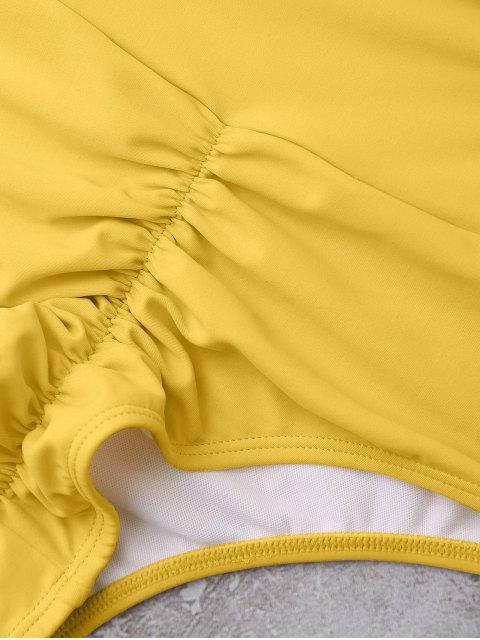 latest Knotted High Waisted Ruched Bikini Set - YELLOW M Mobile