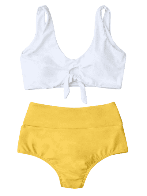 trendy Knotted High Waisted Ruched Bikini Set - YELLOW S Mobile