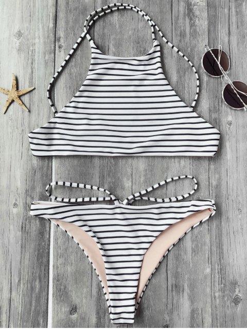 sale Striped High Neck Bikini Top and Bottoms - WHITE AND BLACK L Mobile