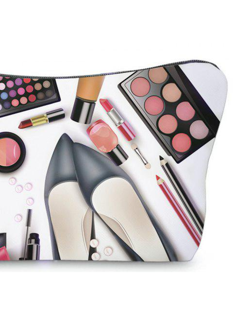trendy 3D Cosmetics Print Clutch Makeup Bag - BLACK  Mobile
