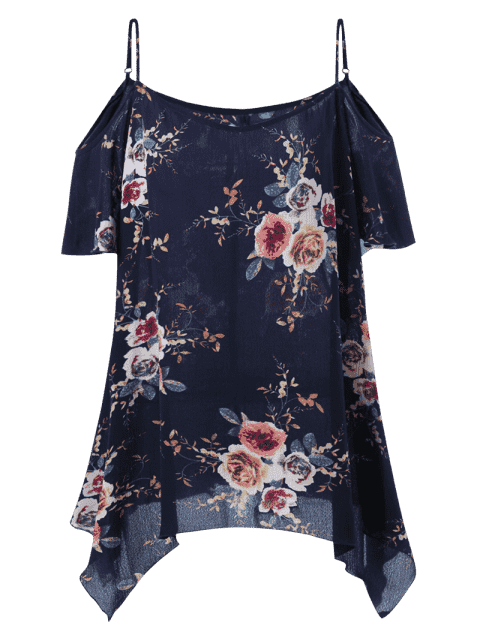 online Plus Size Dew Shoulder Tiny Floral Blouse - BLACK BLUE 5XL Mobile
