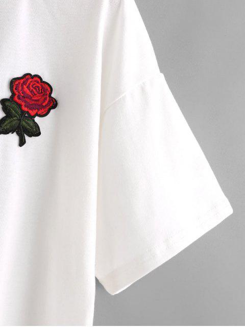 sale Floral Embroidered Cold Shoulder Top - WHITE XL Mobile