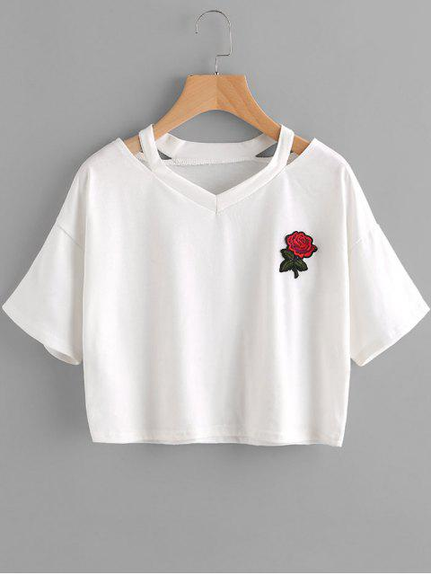 affordable Floral Embroidered Cold Shoulder Top - WHITE L Mobile