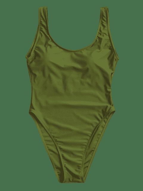 Maillot de bain dos nu avec découpe haute - Vert L Mobile