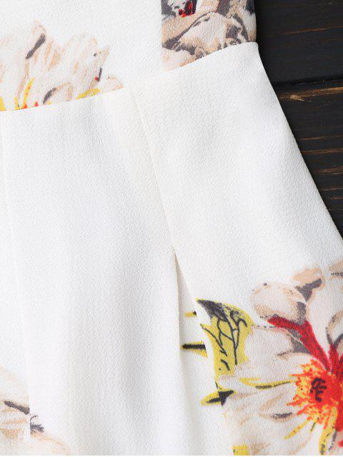 ladies Floral Print Padded Bandeau Cropped Jumpsuit - WHITE S Mobile