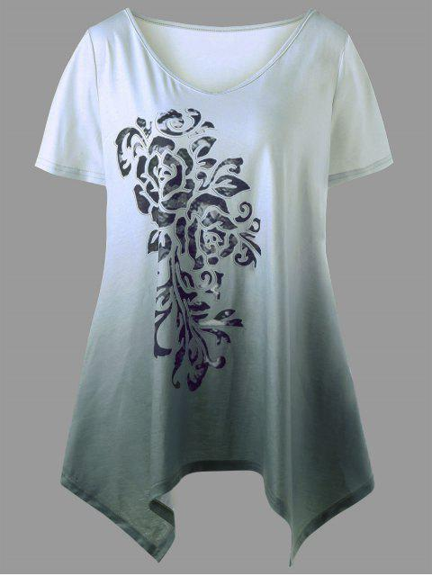 hot Plus Size Ombre Bandana Floral T-shirt - SAGE GREEN 5XL Mobile