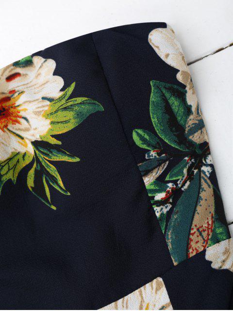 new Floral Print Padded Bandeau Cropped Jumpsuit - PURPLISH BLUE M Mobile