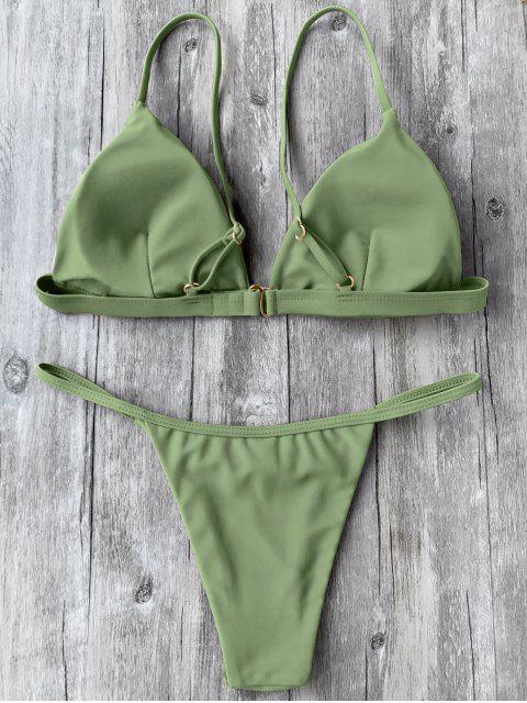 Ensemble de Bikini Plongeant à Bretelle Fine - Vert M Mobile