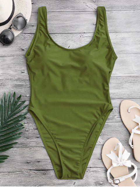 ladies High Cut Backless Swimsuit - GREEN M Mobile
