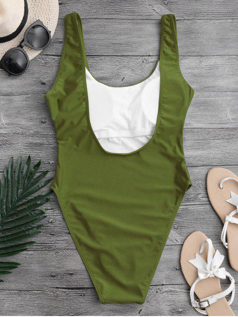 lady High Cut Backless Swimsuit - GREEN S Mobile