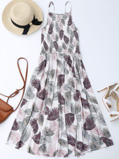 فضفاض ميدي A فستان زهري بخط  - أبيض S
