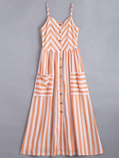 Button Up Striped Cami Dress - Stripe S